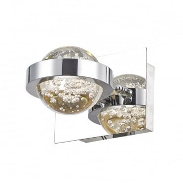 LIVIA - LED LED Bubble Glass Globe Wall Light In Polished Nickel , Switched
