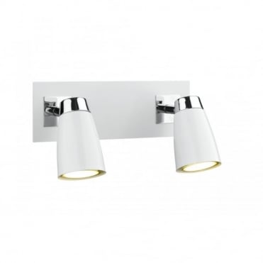 LOFT - Double Insulated Low Energy Twin White Wall Spotlight in White