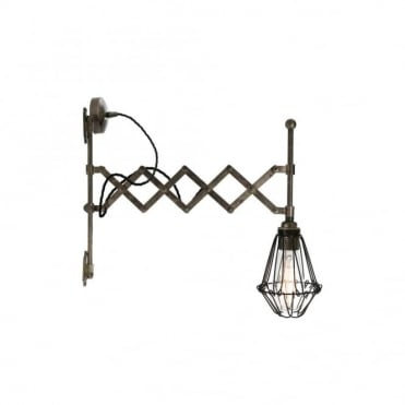 LONN - Adjustable Scissor Cage Wall Light In Antique Silver
