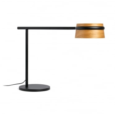 LOOP Dimmable LED Table Lamp in Black with Cherry Tree Wood Shade