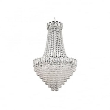 LOUIS PHILIPPE Elegant Crystal 11 Light Chrome Chandelier