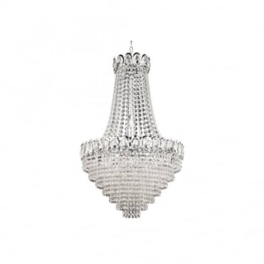 LOUIS PHILIPPE Elegant Crystal 6 Light Chrome Chandelier