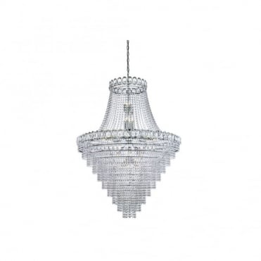 LOUIS PHILIPPE Large Elegant Crystal 28 Light Chrome Chandelier