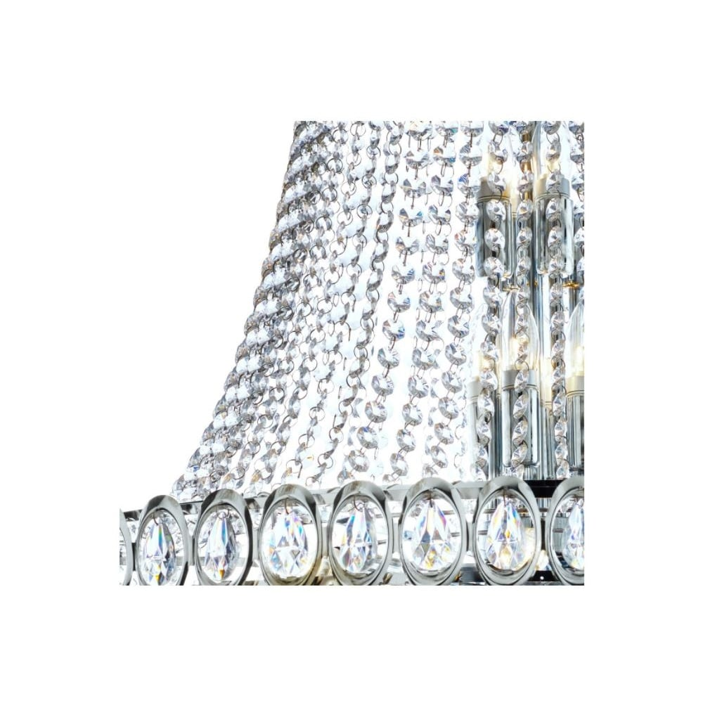 Louis Philippe Chrome 6 Light Chandelier With Crystal