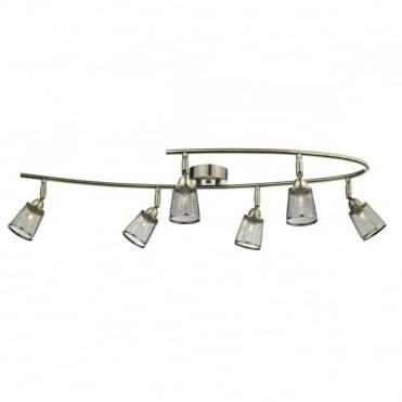 LOWELL - 6 Light Semi Flush Ceiling Antique Brass With Mesh Shade