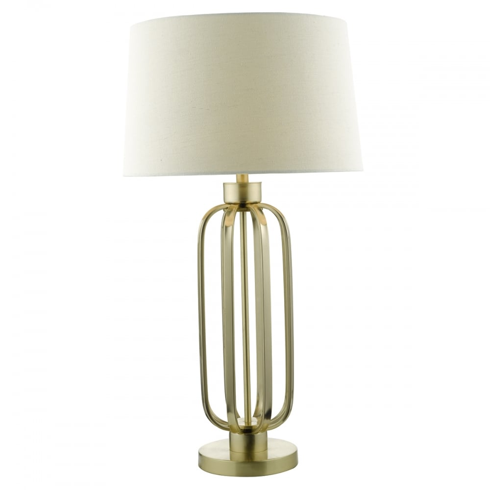 Very Large Table Lamp Satin Brass Shade Lighting And Lights Uk