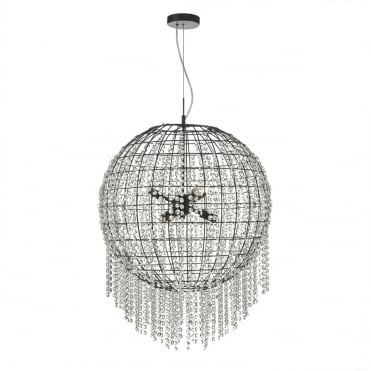 LUPITA 6 Light Ceiling Pendant Black Cage Sphere with Crystal Decoration