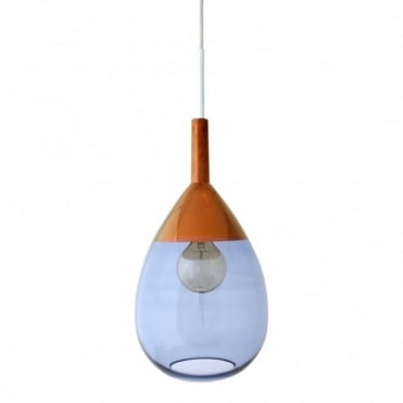 LUTE - Blue Glass And Copper Ceiling Pendant