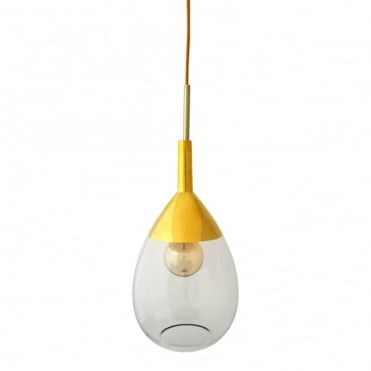 LUTE - Clear Glass And Gold Ceiling Pendant