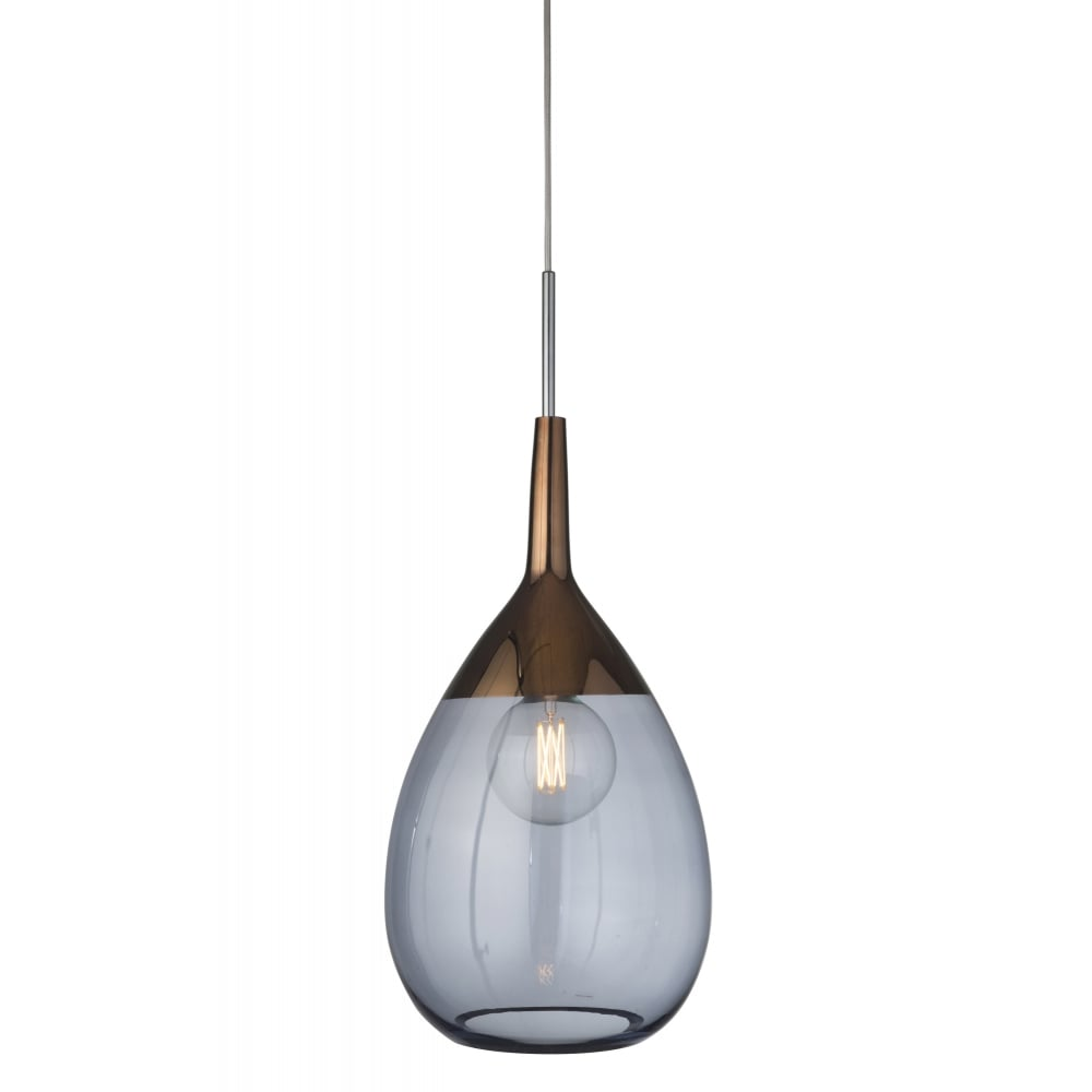 LUTE Extra Large Ceiling Pendant 70cm Blue Glass with Copper
