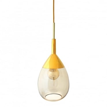 LUTE - Golden Smoke Glass And Gold Ceiling Pendant