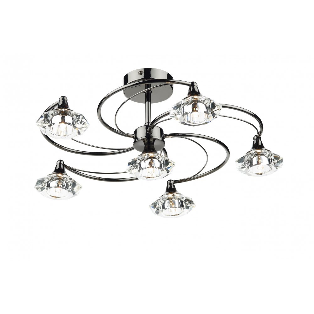 Contemporary semi flush ceiling light in black chrome w glass shades luther black chrome and crystal glass semi flush ceiling ceiling light 6 light mozeypictures Image collections