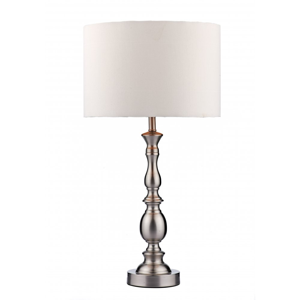 Contemporary beveled satin chrome table lamp with white silk shade madrid satin chrome table lamp and white faux silk shade aloadofball Image collections