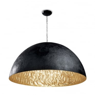 MAGMA-Q Extra Large 1.2 Meter Diameter Dome Ceiling Pendant Black with Gold Inner
