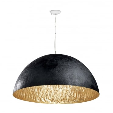 MAGMA-Q Large 70cm Diameter Dome Ceiling Pendant Black with Gold Inner