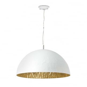 MAGMA-Q Large 70cm Diameter Dome Ceiling Pendant White with Gold Inner