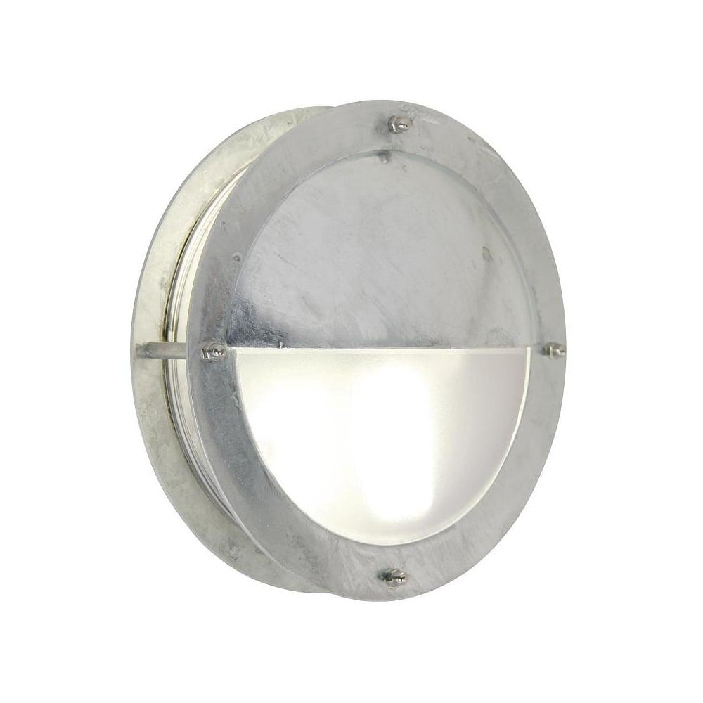 Galvanised steel exterior bulkhead wall light lighting and lights uk malte galvanised steel exterior bulkhead wall light with eyelid aloadofball Images