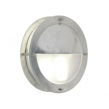 MALTE - Galvanised Steel Exterior Bulkhead Wall Light with Eyelid