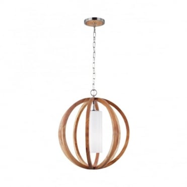 ALLIER - Light Wood/Brushed Steel Small Ceiling Pendant
