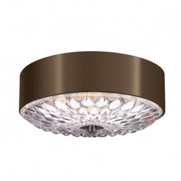 BOTANIC 3 Light Small Ceiling Flush Light Dark Brass Glass Leaf Detailing