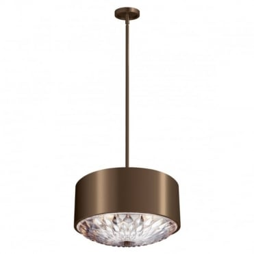 BOTANIC 4 Light Pendant Dark Aged Brass and ;eaf Glass