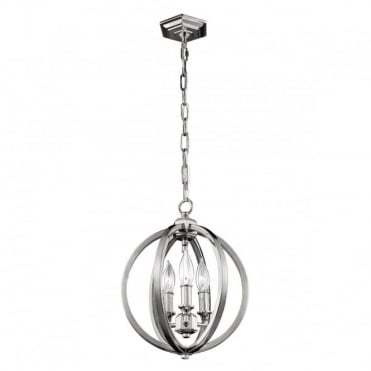 CORINNE 3 Light Small Pendant  Nickel