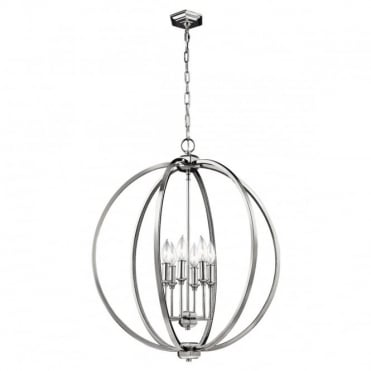CORINNE 6 Light Pendant Polished Nickel