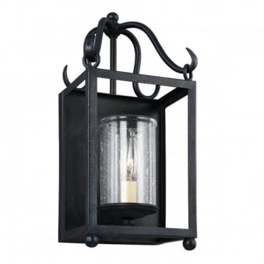 DECLARATION Wall Lantern Antique Iron Seeded Glass Shade