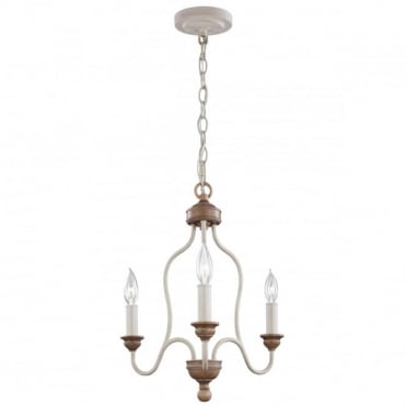 HARTSVILLE 3 Light Ceiling Pendant Cream and Beachwood