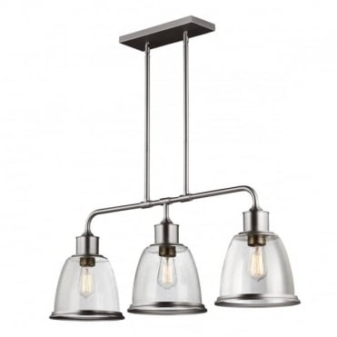 HOBSON Industrial 3 Light Ceiling Pendant Nickel Seeded Glass