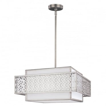KENNEY 3 Light Ceiling Pendant White and Sunrise Silver
