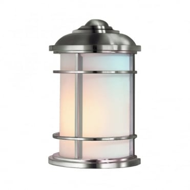 LIGHTHOUSE Modern Exterior Half Wall Lantern Steel Opal Glass Shade