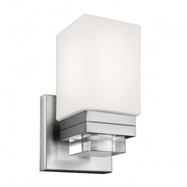 MADDISON LED Bathroom Wall Light Satin Nickel Rectangular Opal Glass Shade