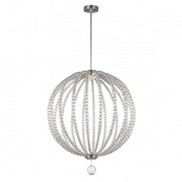 OBERLIN Large LED Orb Pendant Nickel Crystal Detailing