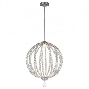 OBERLIN LED Medium Ceiling Pendant Nickel with Crystal Detailing