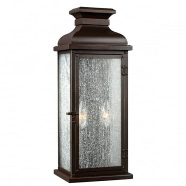 PEDIMENT Exterior Wall Lantern Dark Aged Copper Seeded Glass