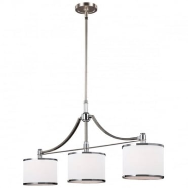 PROSPECT PARK 3 Light Ceiling Pendant Bar Island Chandelier Nickel White
