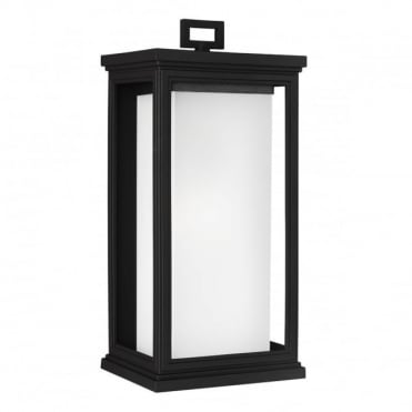 ROSCOE Large Exterior Wall Lantern Textured Black Opal Glass Shade
