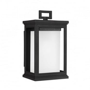 ROSCOE Small Exterior Wall Lantern Textured Black Opal Glass Shade