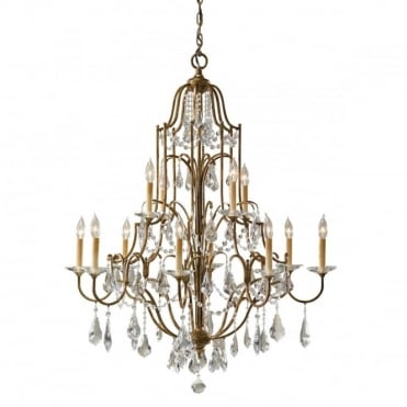 VALENTINA 12 Light Tiered Chandelier Bronze Crystal Decoration