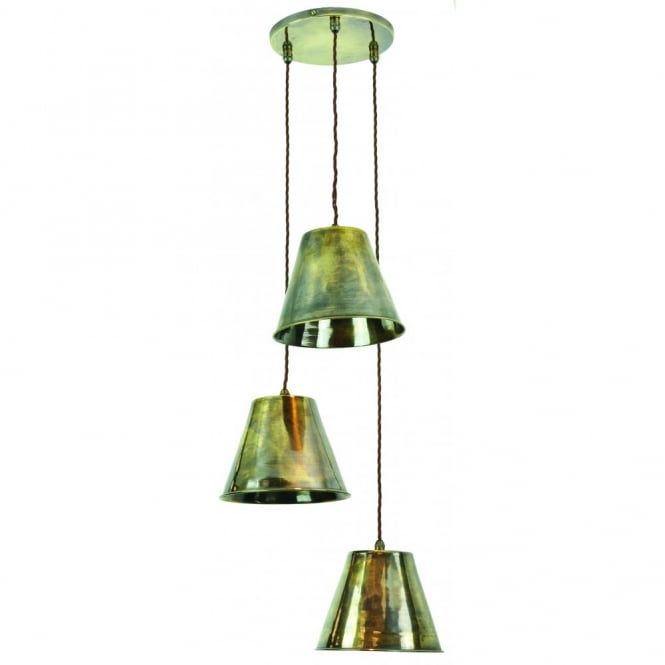 MAP - Room 3 Light Cluster Antique Brass C/W Lb4 Bulbs