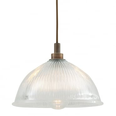 MARIS Bathroom Ceiling Pendant Antique Brass with Prismatic Glass Dome Shade