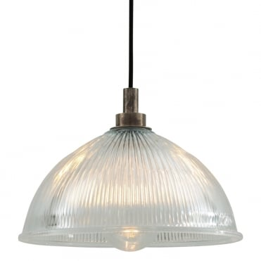 MARIS Bathroom Ceiling Pendant Antique Silver with Prismatic Glass Dome Shade