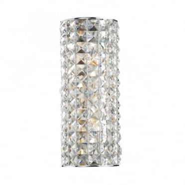 MATRIX - Polished Chrome and Crystal Glass Wall Light , Switched