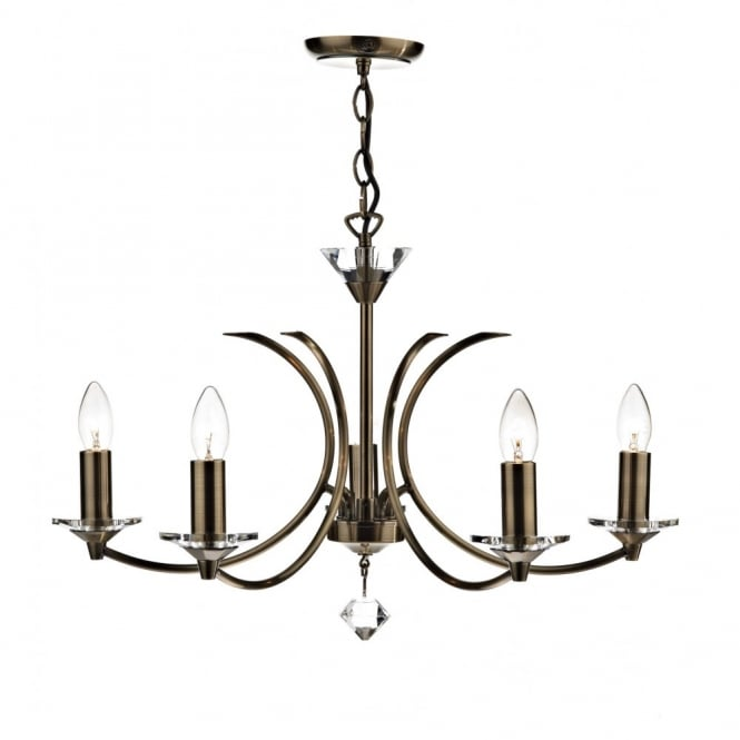 MEDUSA - Antique Brass Ceiling Pendant Light With Crystal