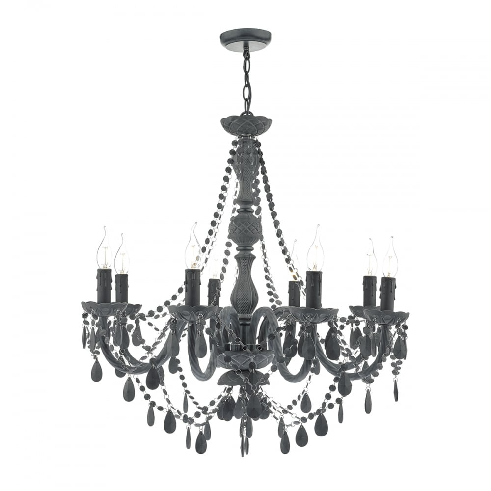 Matte dark grey chandelier modern lighting and lights uk meredith 8 light pendant grey grey aloadofball Image collections