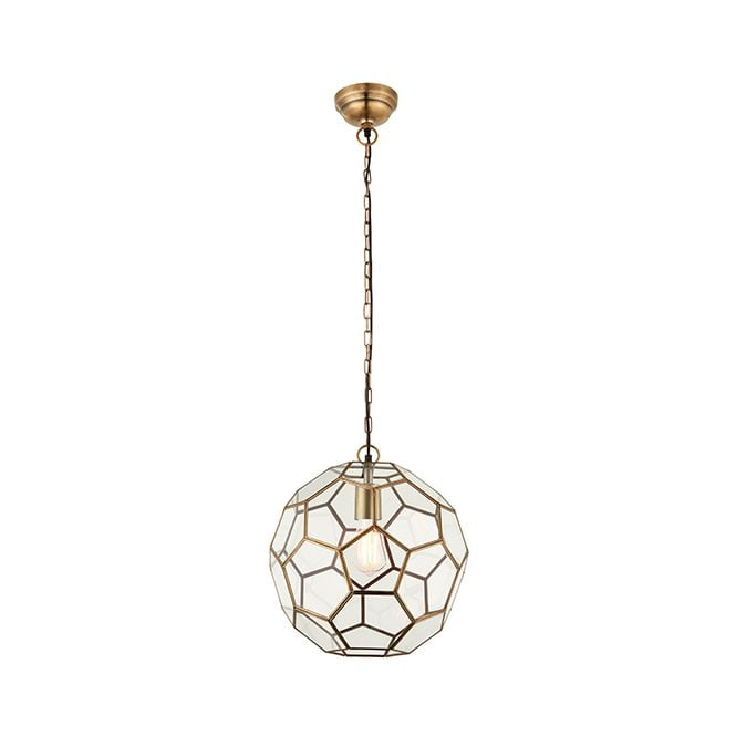 MIELE Hexagonal Geometric Ceiling Pendant in Antique Brass