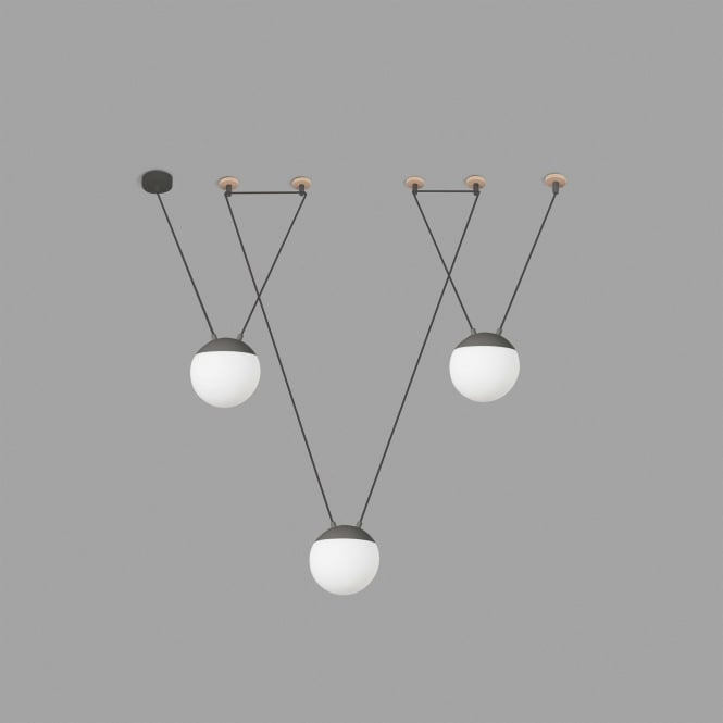 MINE White 3 Opal Glass Globes Ceiling Pendant with Grey and Wood Detail and 4 Ceiling Hooks