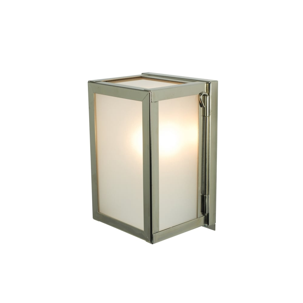 Miniature outdoor box wall light glazed polished nickel frosted glass miniature outdoor box wall light glazed polished nickel frosted glass mozeypictures Images