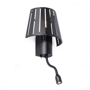 MIX Slatted Black Wall Light with Adjustable LED Reading Light